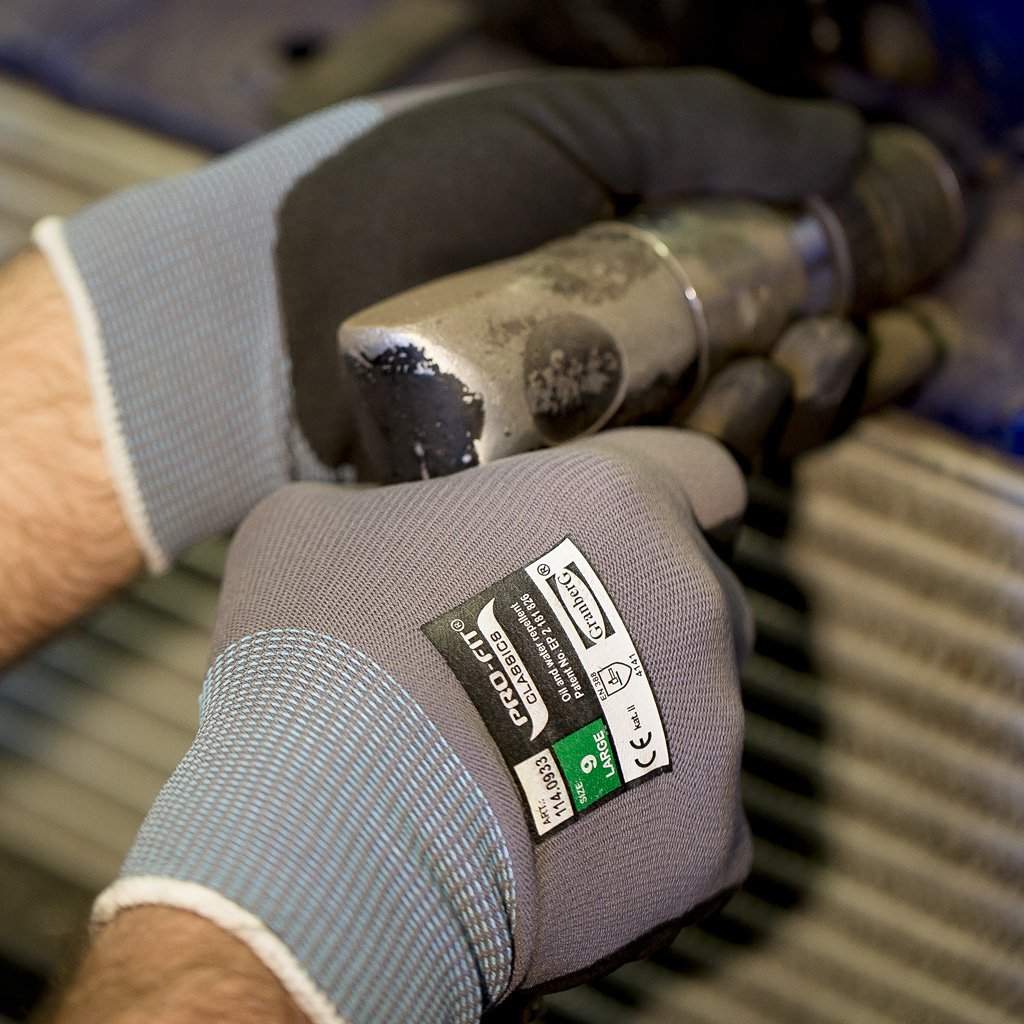 gloves in use
