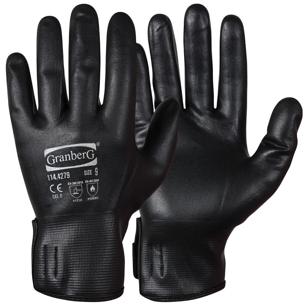black extreme fit assembly gloves