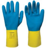 blue and yellow latex gloves