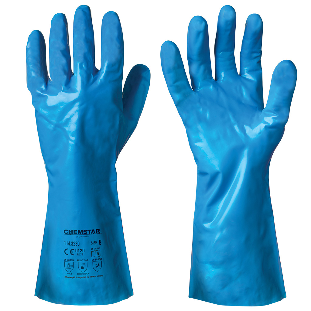 Nitrile chemical resistant gloves