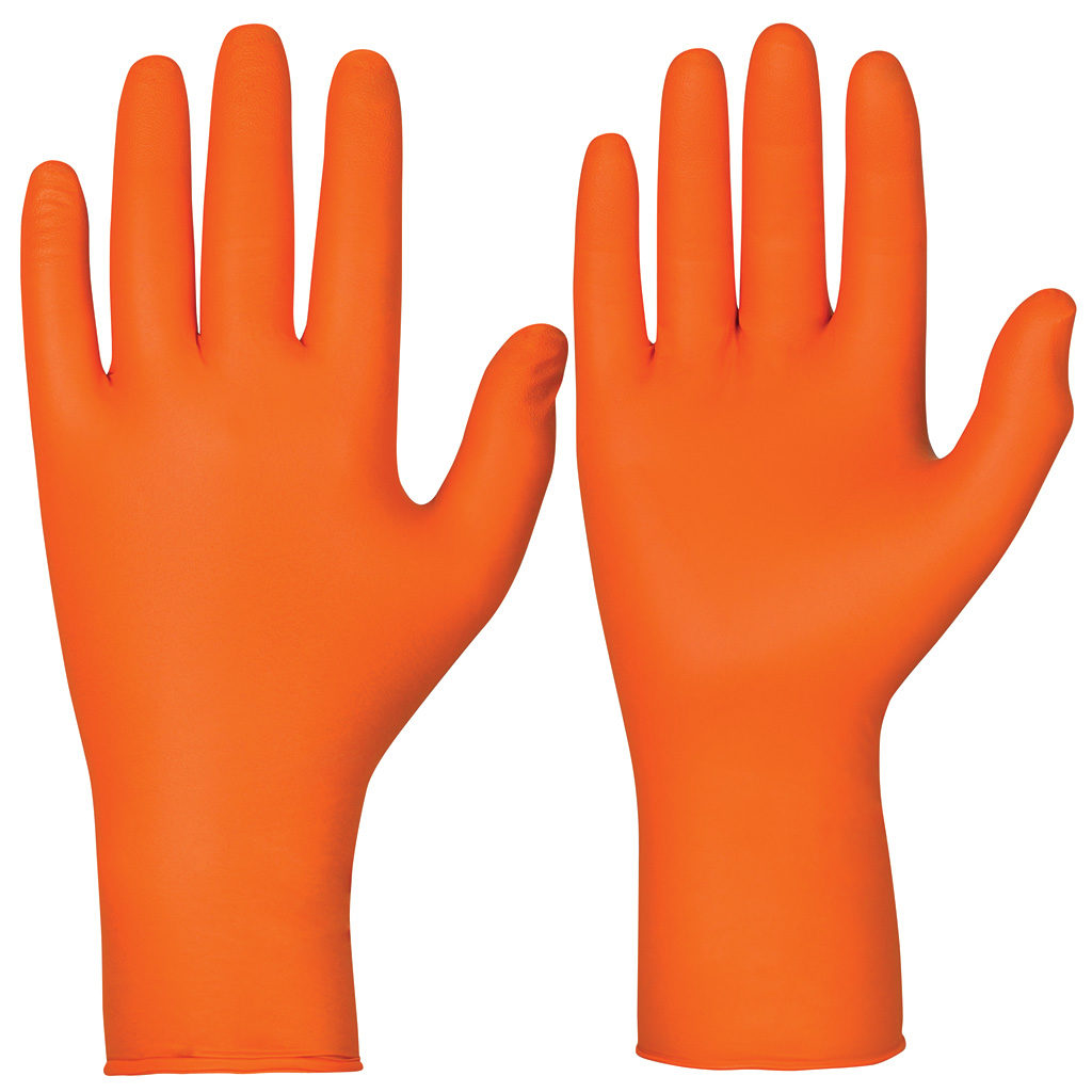 orange single use chemical resistant gloves