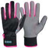 pink and black assembly gloves