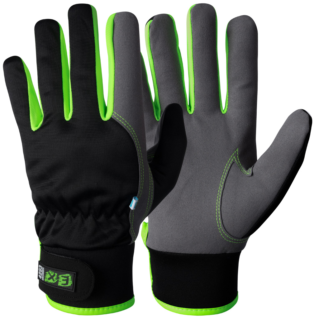 black and green assembly gloves
