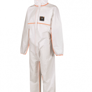 alphashield white and orange type 5/6 disposable coverall